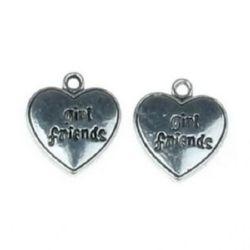 Висулка метална сърце 21.5x19x2 мм дупка 2 мм цвят старо сребро -5 броя