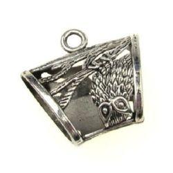 Мънисто метал фигурка с халка 39x37x17 мм дупка 5 мм цвят старо сребро