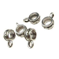 Perle cilindru metalic cu inel 18x7 mm gaură 3 mm culoare argint vechi -5 piese