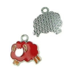 Glazed metal sheep pendant 19x19.5x1.5 mm hole 2 mm with paint -1 piece