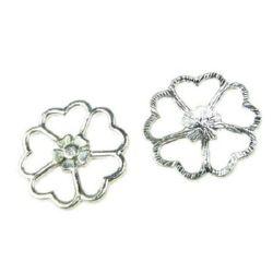 Pandantiv trifoi metalic strălucitor 23 mm culoare argintiu - 2 bucăți