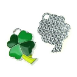 Pendant metal clover 17x23x3 mm hole 3 mm color silver with paint - 1 piece