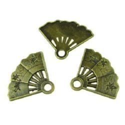Margel metalic pandantiv în formă de evantai 22x29x2 mm orificiu 3 mm culoare bronz antic - 5 bucăți