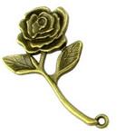 Pandantiv trandafir metalic 35x20x2 mm gaură 1,5 mm culoare bronz antic -5 piese