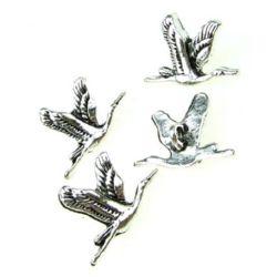 Κρεμαστό μεταλλικό πουλί 20x14x6 mm τρύπα  1,5 mm τύπου χρώματος παλαιωμένο  ασημί -5 τεμάχια