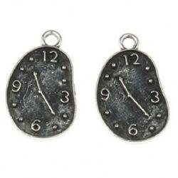 Висулка метална часовник 22.5x13x1 мм дупка 2 мм цвят старо сребро -5 броя