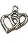 Висулка метална сърца 15x18x2 мм дупка 2 мм цвят старо сребро -6 броя