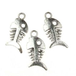 Pandantiv Sheeny metal heringbone 26x11x1,5 mm orificiu 3 mm culoare argintiu vechi - 10 bucăți