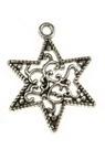 Висулка метална звезда 23x18x3 мм дупка 1.5 мм цвят старо сребро -10 броя