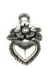 Висулка метална сърце 19x11x2 мм дупка 2 мм цвят старо сребро -10 броя
