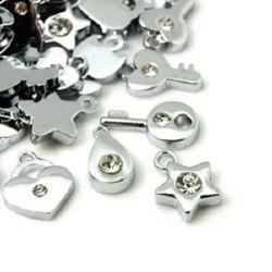 Висулка метал с кристали АСОРТЕ 10~20x8~12x2~4 мм дупка 2~2.5 мм цвят сребро