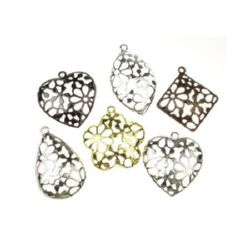 Assorted shapes and sizes metal filigree pendants 33~37.5x30~34x3.5 mm hole 2~2.5 mm assorted colors - 2 pieces