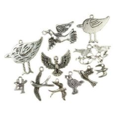 Assorted shapes and sizes metal birds, pendants 17±62.5x8±48.5x1±8 mm hole 2±4 mm color old silver - 20 grams