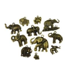 Various of shapes and sizes metal elephants, pendants 11~64.5x11~50x2~9 mm hole 2~7x10mm color antique bronze - 20 grams