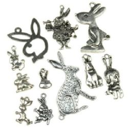 Assorted shapes and sizes metal rabbits, pendants 14~48x13~26x1.5~2.5 mm hole 1~3 mm color old silver - 20 grams