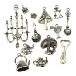 Various of shapes and sizes metal pendants 11~50x4.5~28x1.5~6 mm hole 1~2 mm color old silver - 20 grams