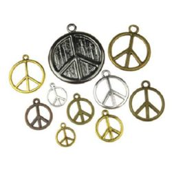 Assorted sizes metal hippie sign Peace, pendants 11~49x9~45x1~2 mm hole 1~3 mm assorted colors - 20 grams