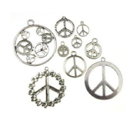 Various sizes and surfaces metal hippie sign Peace, pendants 11~49x9~45x1~2 mm hole 1~3 mm color old silver - 20 grams