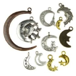 Assorted shapes and sizes metal moon, pendants 8.5 ~ 31x8 ~ 25x1 ~ 15 mm hole 2 ~ 3 mm assorted colors - 20 grams
