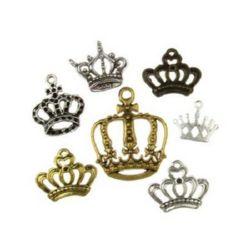 Coroană metalică pandantivă ASSORTIT 12 ~ 33,5x13 ~ 28x1,8 ~ 9 mm orificiu 1 ~ 3 mm culoare ASORTAT -20 grame