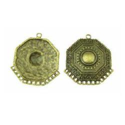 Element de conectare octogon metal 48x243x3 mm gaură 3 mm culoare bronz antic