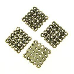 Свързващ елемент метал квадрат 15x1.5 мм дупка 2 мм цвят антик бронз -10 броя