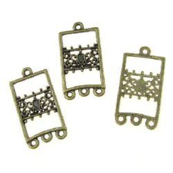 Свързващ елемент метал правоъгълник 36x18x1.8 мм дупка 2 мм цвят антик бронз -10 броя