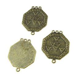 Свързващ елемент метал октагон 30.5x24.5x1 мм дупка 2 мм цвят антик бронз -4 броя