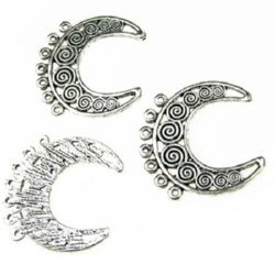 Crescent shape,  connecting element metal semicircle 28x27x2 mm hole 2 mm color silver - 5 pieces