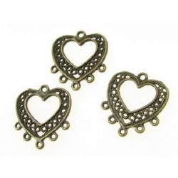 Metal filigree heart, connecting element 20x19x1 mm hole 1 mm color antique bronze - 10 pieces