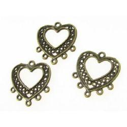 Element de conectare inimă metalică 20x19x1 mm gaură 1 mm culoare bronz antic -10 piese