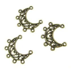 Semicircle openwork connecting element metal 25x18x2 mm hole 2 mm color antique bronze - 10 pieces