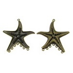 Fastener metal starfish 65x59x5 mm hole 3 mm color antique bronze - 2 pieces