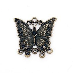 Connecting element metal butterfly with nests for crystals 28.9x30x2.2 mm hole 2 mm color antique bronze - 2 pieces