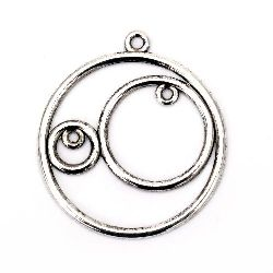 Jewelry finding,  connecting metal element - circle 34x1 mm hole 1.5 mm color old silver - 2 pieces