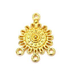 Свързващ елемент метал 27x18x3.5 мм дупка 1.5 мм цвят злато -4 броя