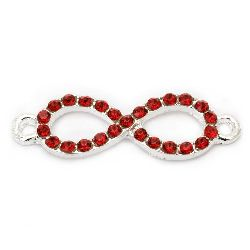 Metal connector in infinity sign shape with red crystals 32x10x3 mm hole 2 mm color silver - 2 pieces