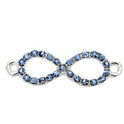 Свързващ елемент метал с кристали сини безкрайност 32x10 мм дупка 2 мм цвят бял