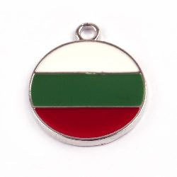 Round metal pendant coin shaped, tricolor 20x25 mm