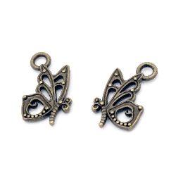 Висулка метална пеперуда 17x10x2.5 мм дупка 2.5 мм цвят антик бронз -20 броя