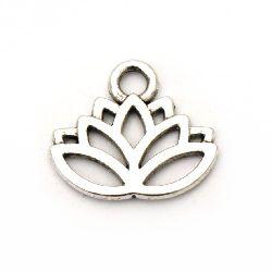Висулка метална цвете Лотос15x17x1 мм дупка 3 мм цвят старо сребро -10 броя