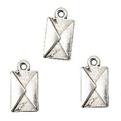 Plic metalic pandantiv 16,5x9x2 mm orificiu 1 mm culoare argint vechi -10 bucăți