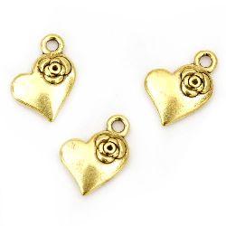 Μεταλλικό Κρεμαστό  καρδιά 15x11x3 mm τρύπα 1,5 mm χρώμα παλαιωμένο χρυσό -10 τεμάχια