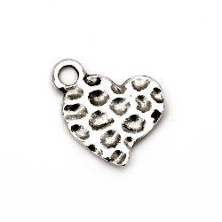 Висулка метална сърце 15x13x2 мм дупка 2 мм цвят старо сребро -10 броя