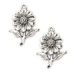Висулка метална цвете 27x19x4 мм дупка 1.5 мм цвят старо сребро -5 броя