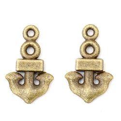 Висулка метална котва 17x10x2 мм дупка 1.5 мм цвят антик бронз -20 броя