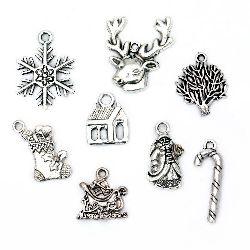 Висулка метална Коледа АСОРТЕ 17~26x9~22x2~3 мм дупка 2~3 мм цвят старо сребро -8 броя