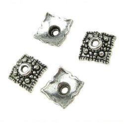 Мънисто метал шапка 8.5x2 мм дупка 1 мм цвят старо сребро -20 броя