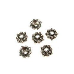 Καπελάκια χάντρας λουλούδι 8x3mm μεταλλικά, τρύπα 1mm παλιό ασήμι -20 κομμάτια