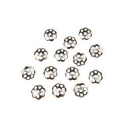 Καπελάκια χάντρας λουλούδι 6x6x1 mm ατσάλι τρύπα 1 mm ασημί -20 τεμάχια